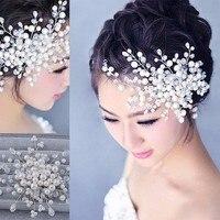 Hot Sell Luxury Silver Rhinestone Pearl Bridal Wedding Flower Headband Wedding Tiara Hair Jewelry Hair Clip