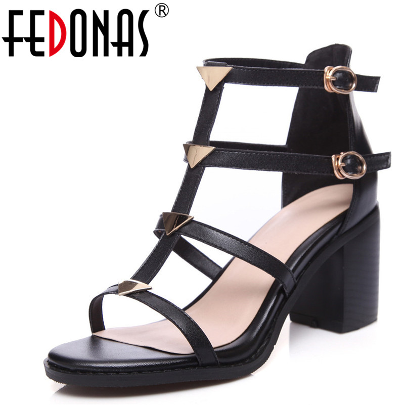 FEDONAS Summer Sandals For Women Genuine Leather Shoes Buckles Rivets Punk Black Party Shoes Woman Platforms High Heeled Sandals facndinll genuine leather sandals for