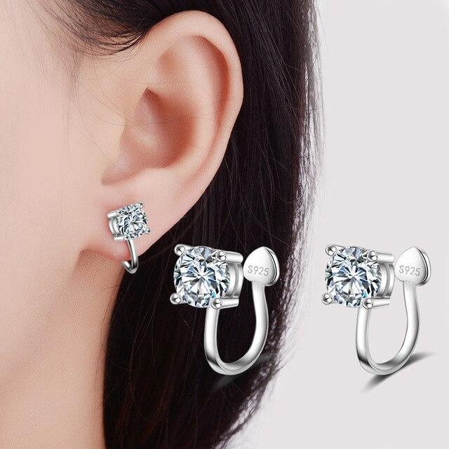 Kolor Srebrny mody Ucha Clip Pojedyncze CZ Kryształowe Kolczyki dla Kobiet Wedding Party Kostium Biżuteria Mały Klip Kolczyki pendientes