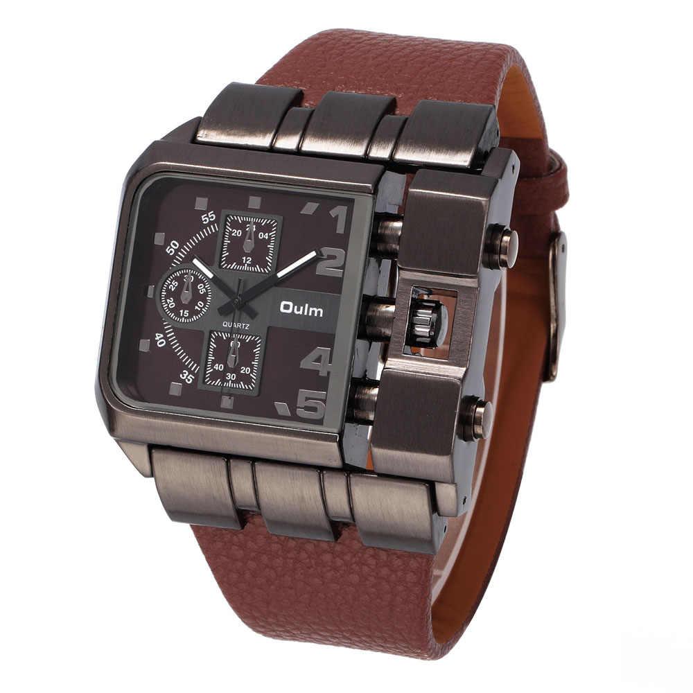 cc7d5b8b47ff ... reloj hombre deportivo OULM Brand Original Unique Design Square Men  Wristwatch Wide Big Dial Casual Leather ...