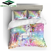 Bedding Set 3D digital printing duvet cover bed sheet pillow Rainbow unicorn bedding set Birthday gifts for children