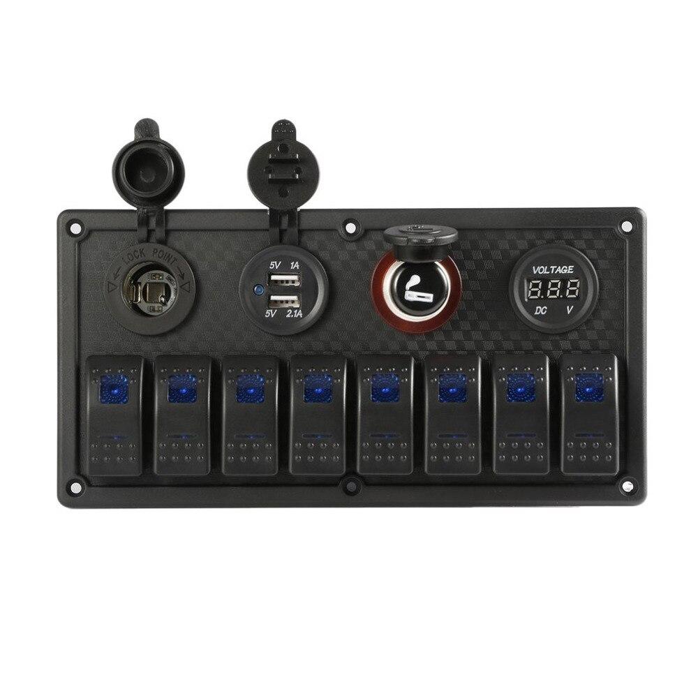 Новые 8 Gang 12-24 В кулисный переключатель Панель Управление Прокат морской лодка вольтметр IP65 Водонепроницаемый двойной зарядка через USB Порт...