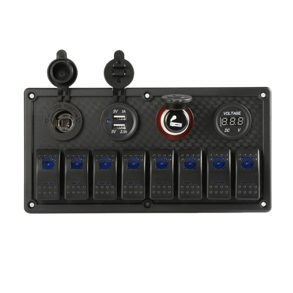 Nouveau 8 Gang 12-24 V Interrupteur À Bascule Panneau de Contrôle De Voiture Marine Bateau Voltmètre IP65 Étanche Double USB De Charge Ports Durable Matériel