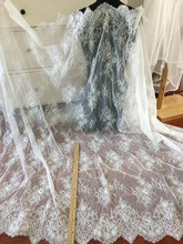 3m Bridal Alencon Lace Fabric, Lingerie Lace, Eyelash wedding lace fabric, Gown Wedding Dress Fabric