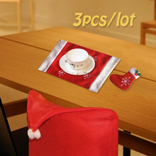 Red Santa Claus Tableware Socks Mats Hat Dining Room Chair Cover Seat Back Coat Christmas Home Dinner Table Decorations