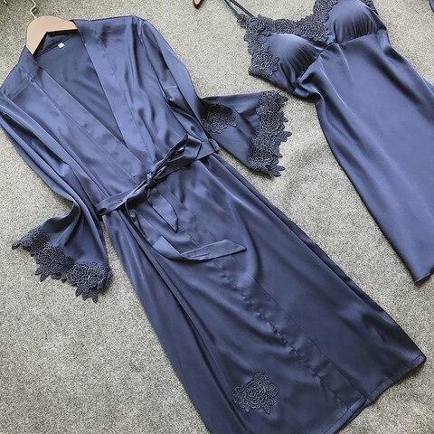 BZEL Nighties Women Pajamas Satin Sleepwear Pijama Silk Home Wear Lace Home Robe Chest Pads Sleep Lounge Pyjama Robes Sets 6 PCS Karachi