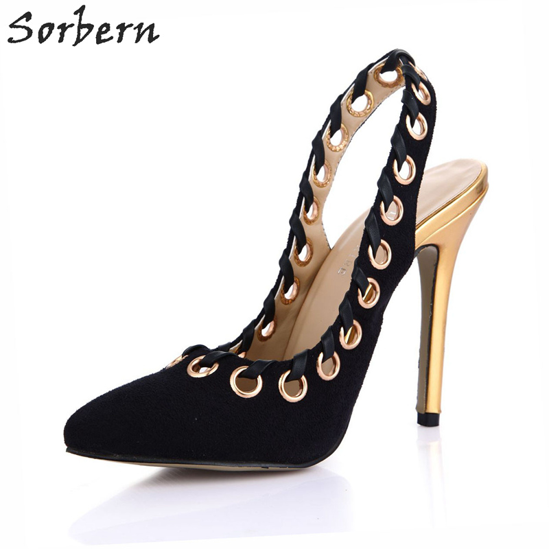 Sorbern Sexy Metal Hole Slingbacks Point Toes Pumps Ladies High Heel Open Heels Shoes Women Office Heels 2018 New Size 35 ShoesSorbern Sexy Metal Hole Slingbacks Point Toes Pumps Ladies High Heel Open Heels Shoes Women Office Heels 2018 New Size 35 Shoes