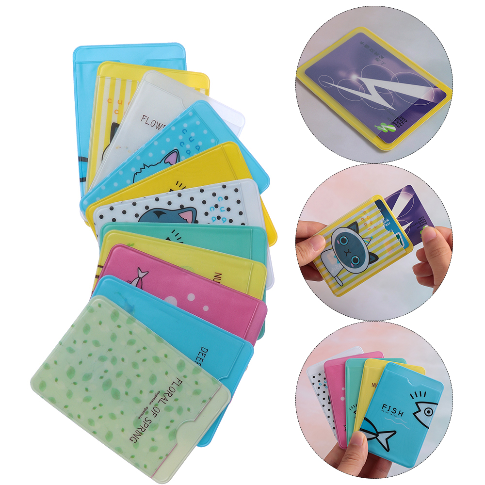 2pcs Transparent PVC Fresh Bus ID Card Holder Case Cute Cartoon Business Bank Credit Card Cover Student Badge Bag Cases