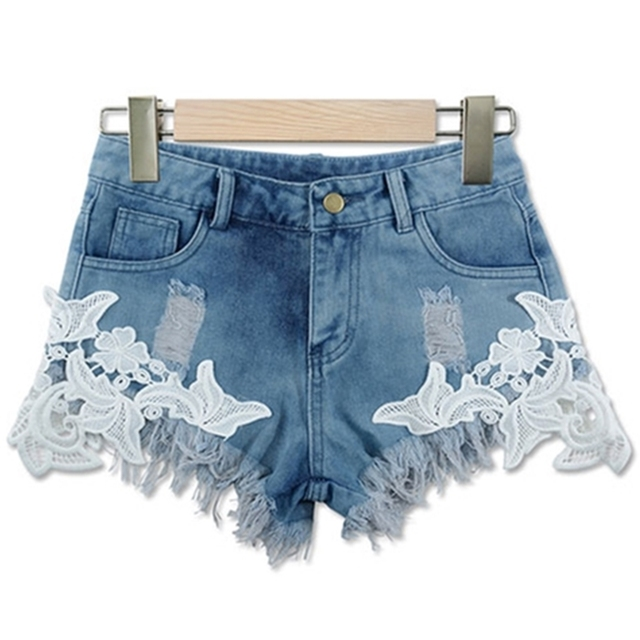 391a2be60d4 New Summer ripped high waist women casual shorts Sexy lace blue denim shorts  Vintage short jeans woman hot shorts