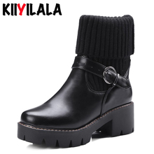 Kiiyilala Knitting Slip-on Platform Sock Boots Women Boots Buckle Round Toe Square Heels Ankle Boots For Women Woman Short Boots lsewilly women boots bohemia chinese nation style women fringe increasing heels bead short boots woman tassel ankle boots a002