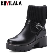 Kiiyilala Knitting Slip-on Platform Sock Boots Women Buckle Round Toe Square Heels Ankle For Woman Short