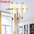 Современный светодиодный подвесной светильник с птицами, лофт Журавлик оригами, светодиодный светильник с подвеской для магазина, фойе бар...