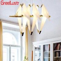 Modern LED Bird Pendant Lights Loft origami crane bird Led Lustre Hanglamp for Shop Bar Foyer Home Design Pendant Lamp