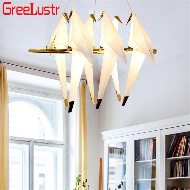 Moderne LED oiseau pendentif lumières Loft origami grue oiseau LED Lustre Hanglamp pour boutique Bar Foyer Design maison pendentif lampe