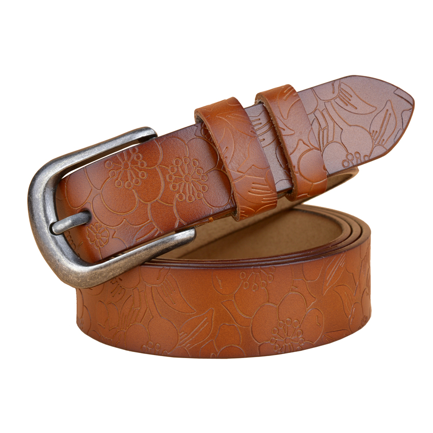 Wholesale Price Cowhide Flower Leather Women Belt Fashion Vintage Embossing Belts for Women Strap Girl 39 s Cintos 8 colors in Men 39 s Belts from Apparel Accessories