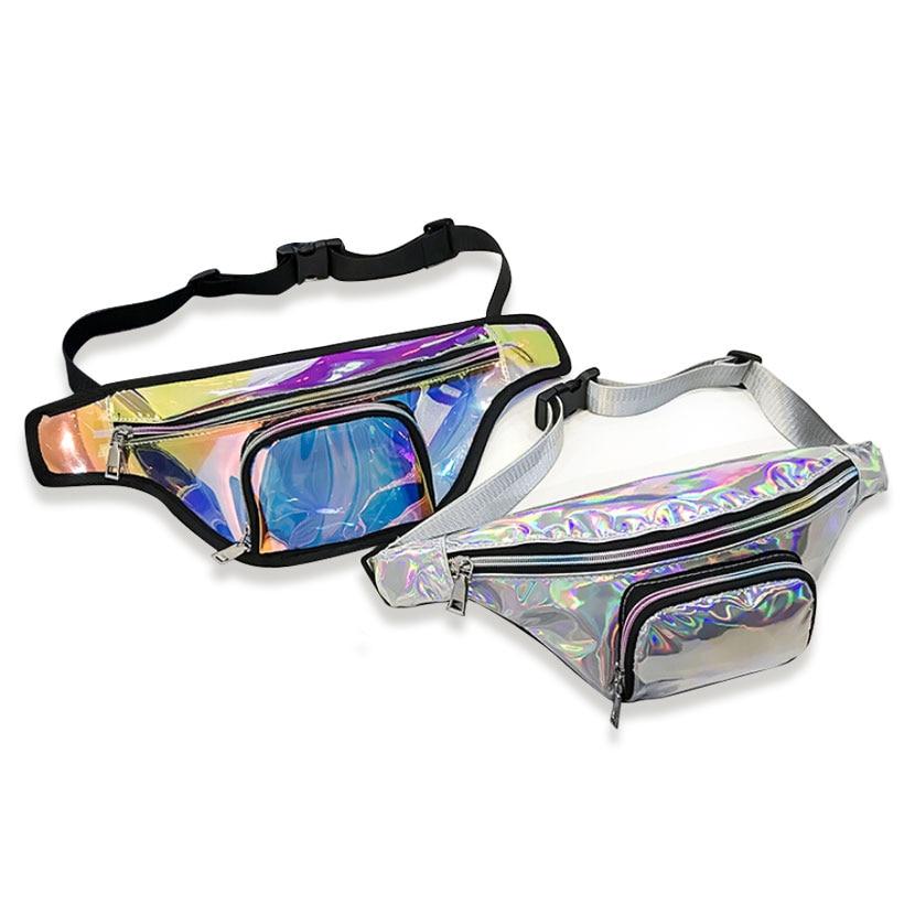 2018 New Punk Lady Girl Rainbow PVC Laser Transparent Fanny Pack Women Bum Bag Belt bag Silver Black