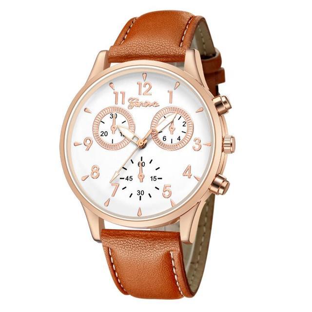 Business Men's Quartz Date Clock Man Leather Wrist Watch 4