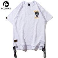 HZIJUE 2018 Summer Fashion Hip Hop Fashion T Shirt Men Letter Embroidered 100 Cotton Tee Shirt