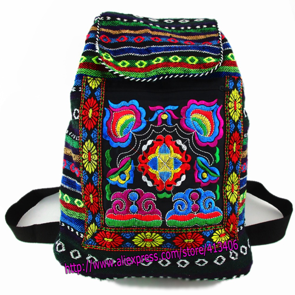 Tribal Vintage Hmong Thai Indian Ethnic Embroidery Bohemian Boho rucksack Boho hippie ethnic bag backpack bag L size SYS-170 chinese hmong boho indian thai embroidery brand logo backpack handmade embroidered canvas ethnic travel rucksack sac a dos femme
