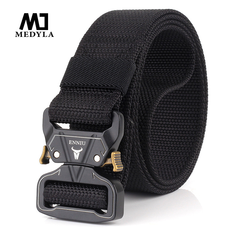 MEDYLA Tactical Belts Nylon Military Waist Belt With Metal Buckle Adjustable Heavy Duty Training Waist Belt Hunting Accessories