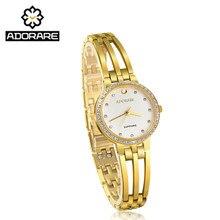 Hot Koop Fashion Rvs Gold & Silver Sapphire Crystal Quartz Horloge Luxe Vrouwen Rhinestone Horloges Gift Valentine