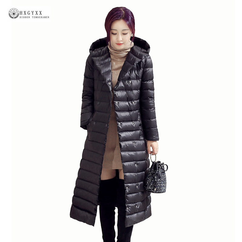 2018 New Winter Down Coat Women Solid Color Hooded X-Long White Duck Down Jacket Plus Size Female Outerwear Winter Coat OK1040 2015 new hot winter warm cold woman down jacket coat parkas outerwear luxury hooded splice long plus size 2xxl hit color slim