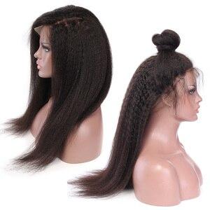 Image 4 - איבון קינקי ישר תחרה מול שיער טבעי פאות שיער ברזילאי לא מעובד שיער פאה טבעי צבע