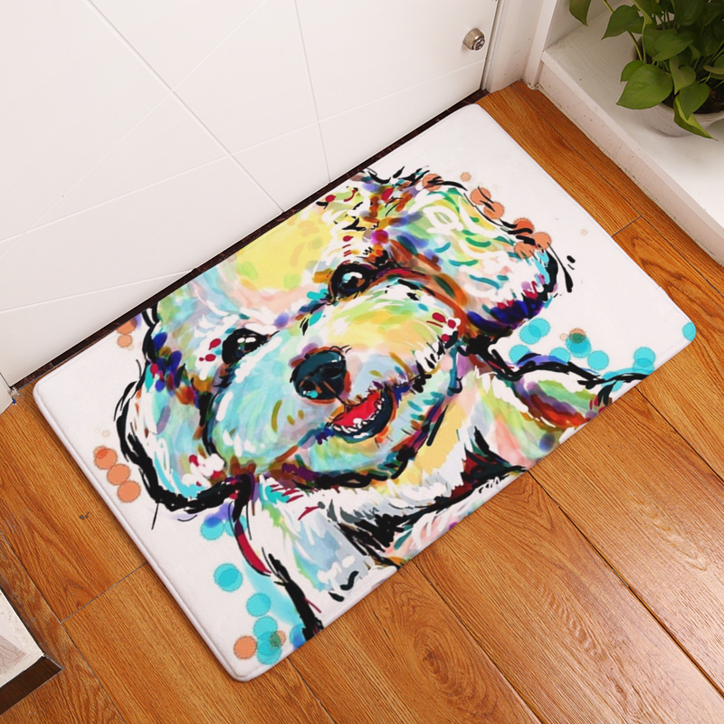 90895a412f6a Flannel Floor Mats Dog Printed Bedroom Living Room Carpets Cartoon Pattern  Mat for Hallway Anti-Slip Tapete - us139