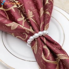 Joyathome New Wedding Ring for Napkin Pearls Resin Buckle Holder Silver Rings Servet Napking