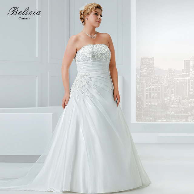 Belicia Couture Wedding dress Plus Size Organza Beading Appliques Strapless  Bridal Gown Floor Length Lace Up 1e136d3c7f29