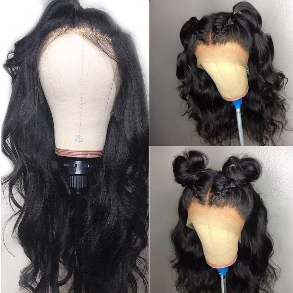 Body Wave 360 Lace Frontal Wigs 6Inch Deep Part Peruvian Remy Hair Lace Frontal Wig With Bleached Knots Drop Shippping(China)