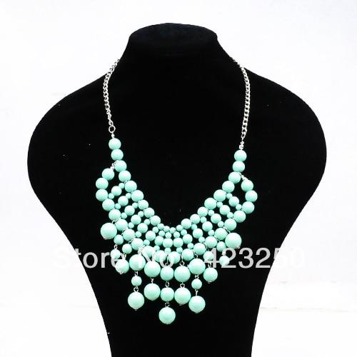 Venta al por mayor 2013 joyería moda verde menta resina collar de múltiples capas