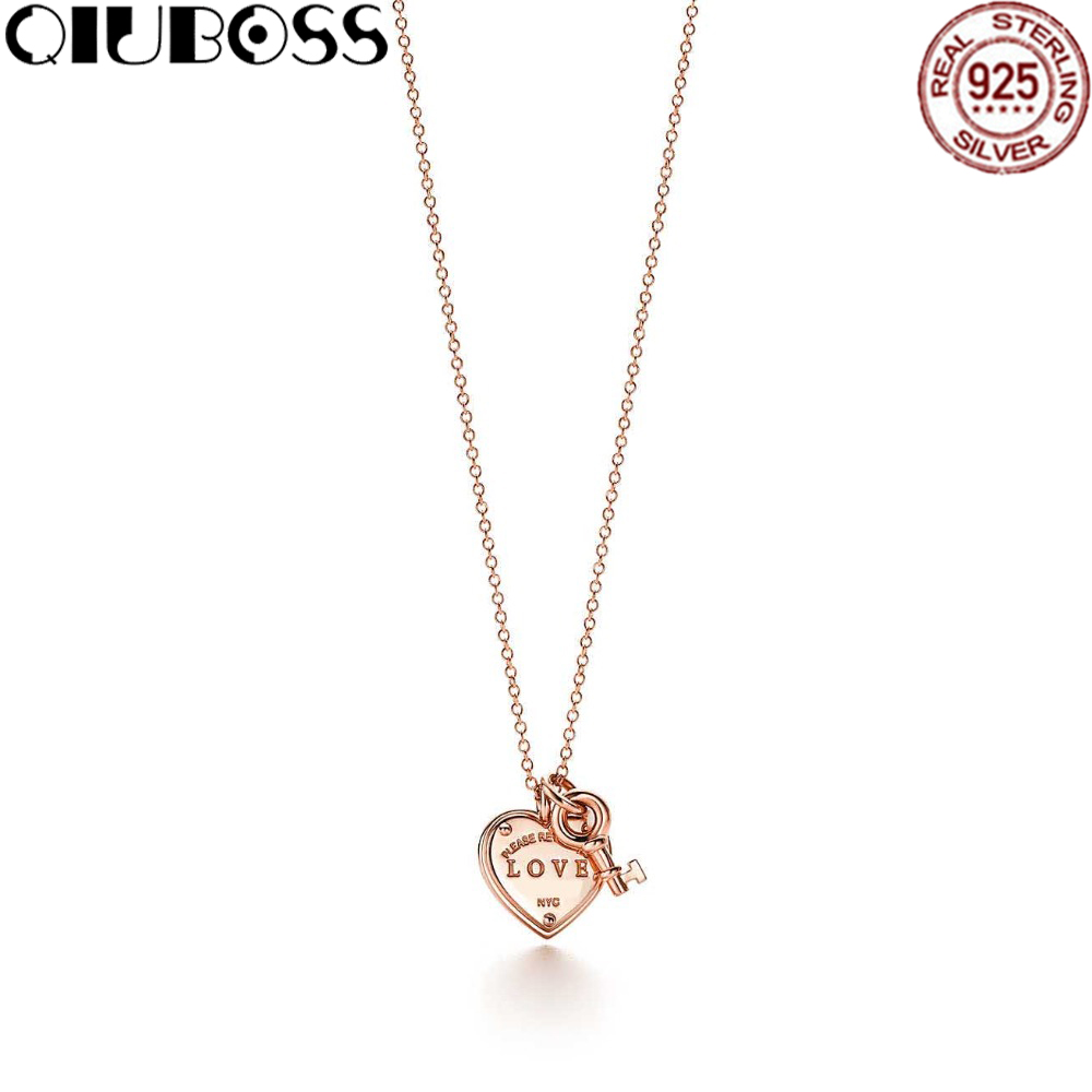купить TIFF 100% 925 Sterling Silver Jewelry Rose Gold Love Heart Tag Key Pendant Silver Necklaces Girls birthday gifts