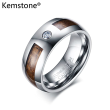 Kemstone Tungsten Stylish Sliver/Brown Color AAA Cubic Zirconia 8MM Men Ring Jewelry Gift