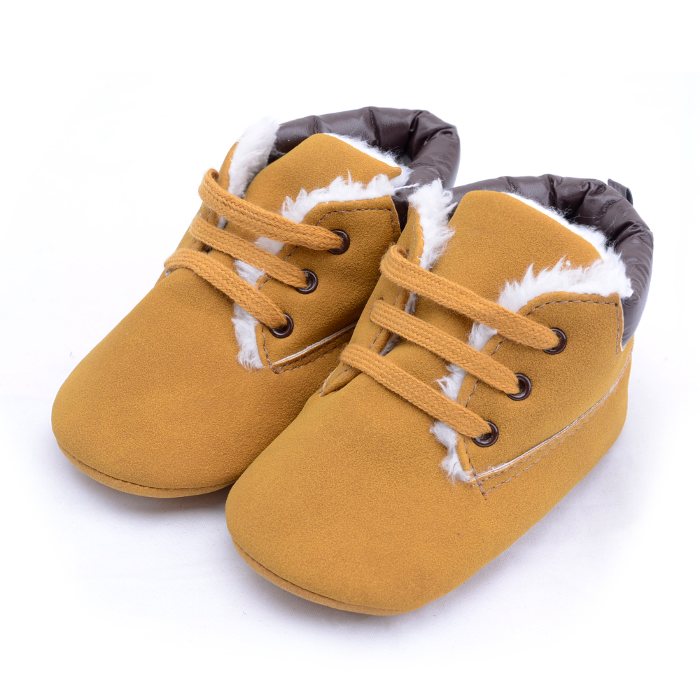 Infant Toddler Baby Boy Girl Soft Sole Crib Shoes Winter Warm Flock Leather First Walkers Newborn Moccasins Baby Booties Boy