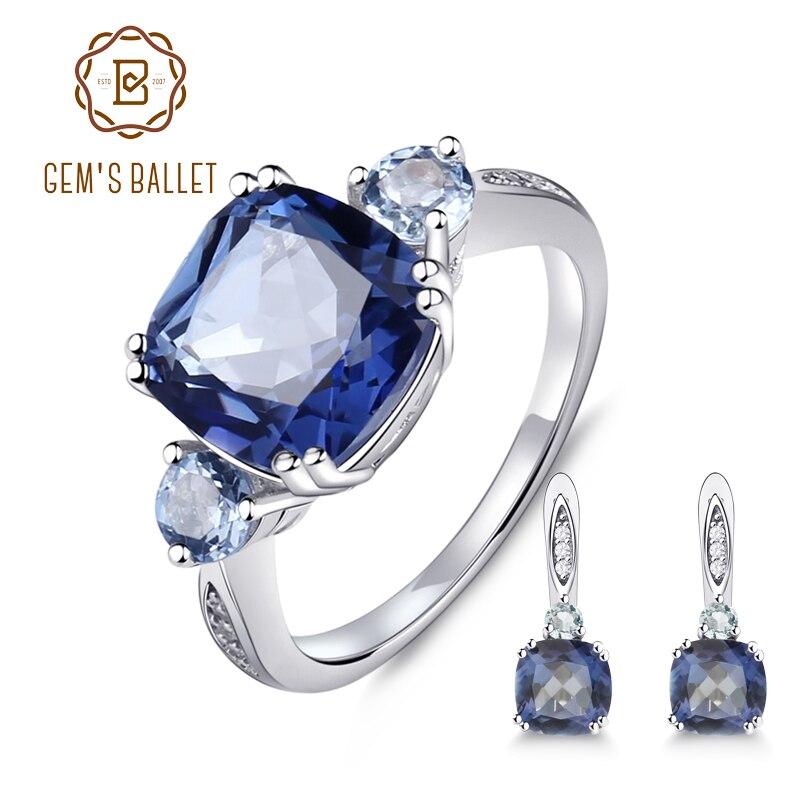 GEM S BALLET 9 62ct Natural IoliteBlue Mystic Quartz Sky Blue Topaz Jewelry Set 925 Sterling