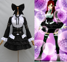 Fairy Tail Erza Scarlet black maid lolita Cosplay Costume cutome-made free shipping