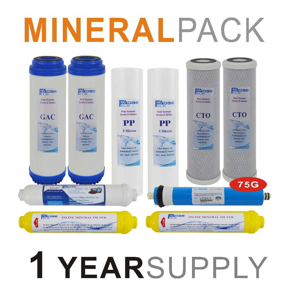 Mineralization Reverse Osmosis System Replacement Filter Sets 10 Filters with 75 GPD RO Membrane Element 1 Year Supply in Water Filter Parts from Home Appliances