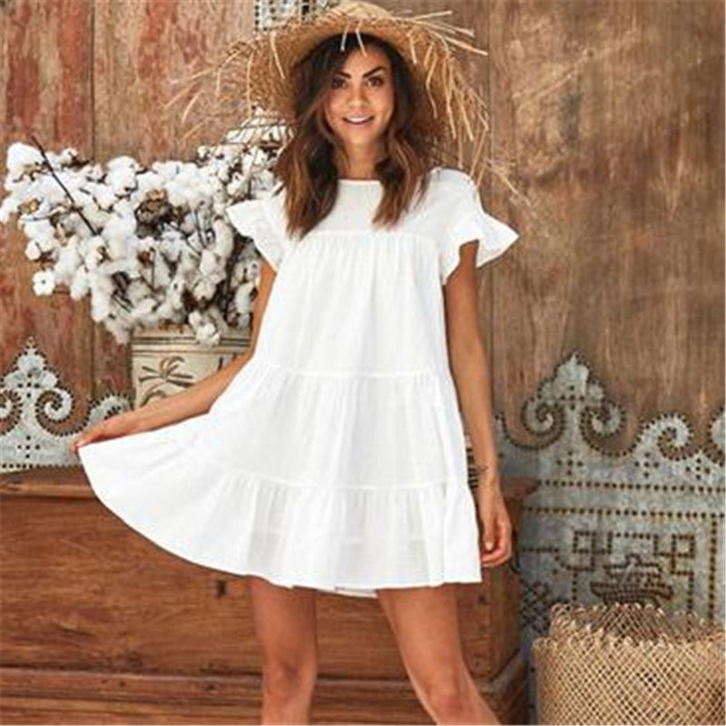 Fashion Casual Womens Ladies Dresses Summer Short Sleeve Mini Tank Dress Sweet Loose Beach Sundress Red White Yellow