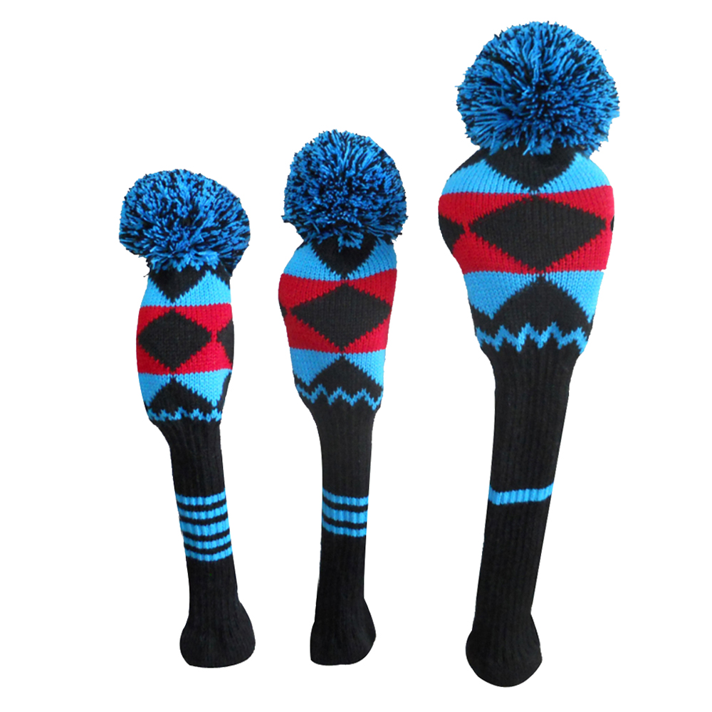 ФОТО Black/red/blue Color Alien Pattern Golf  Club Covers set of 3 for Driver Wood, Fairway, and Hybrid