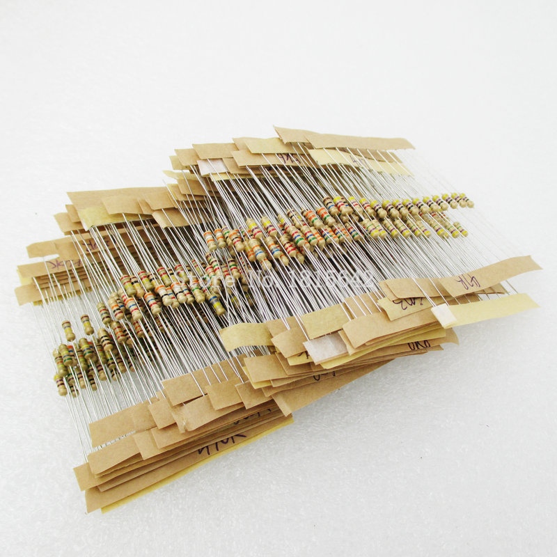 500PCS/LOT 50 Values Each 10Pcs 1 ohm-10M ohm 1/4W Power 0.25W 1% Tolerance Carbon Film Resistors Assorted Assortment Kit