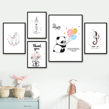 Panda Mermaid Unicorn Deer Balloon Flower Canvas Painting Wall Art Nordic Posters And Prints Pictures Baby Kids Room Decor