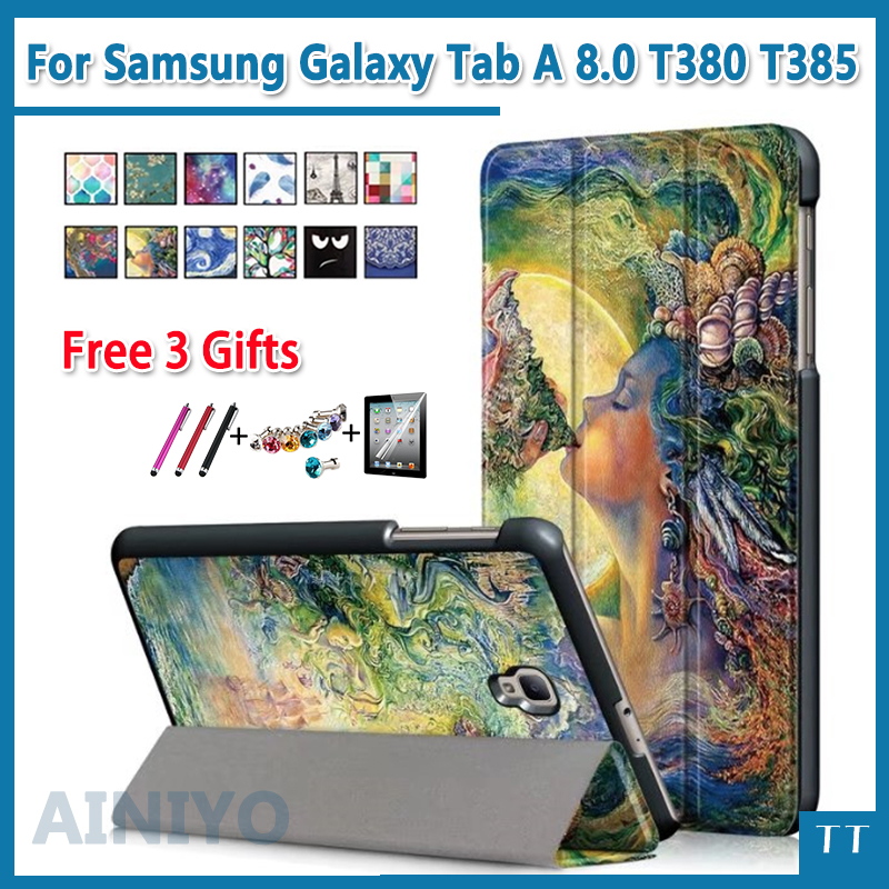 luxury fashion Cartoon PU Leather case for Samsung Galaxy Tab A 8.0 T380 T385 2017 8.0 Flip stand Cover + free 3 gifts