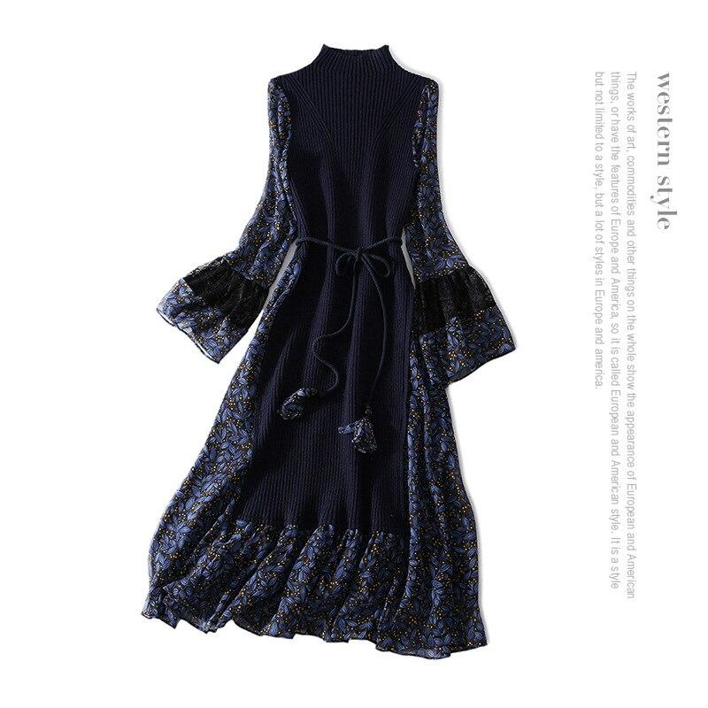 18 new spring half leaf print sleeve splicing turtleneck knitted waistband false two long dress