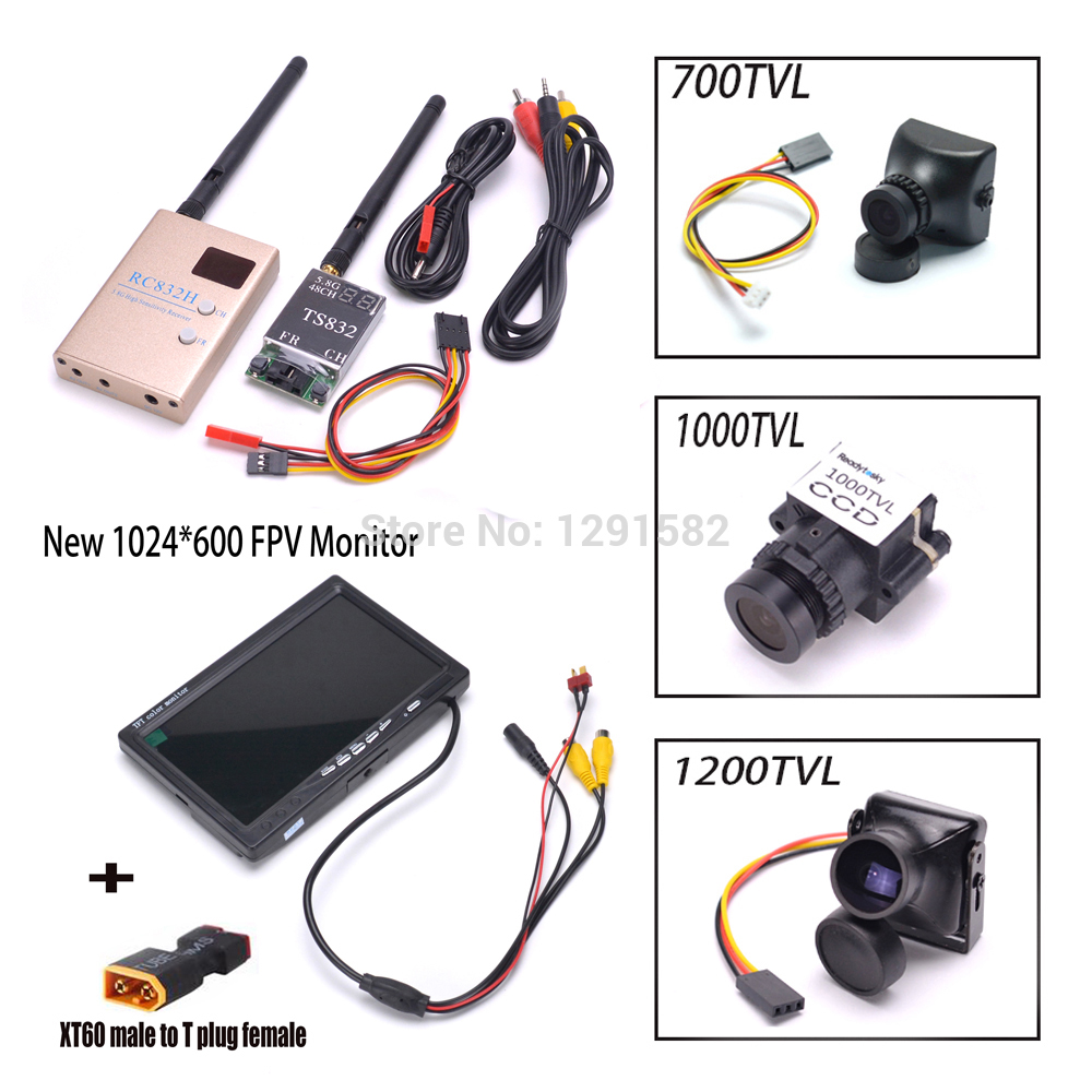 TS832 RC832 เครื่องส่งสัญญาณและตัวรับสัญญาณ 5.8G 600 mW 48CH ไร้สาย AV 700TVL/1000TVL/1200TVL 7 นิ้ว LCD TFT FPV 1024x600-ใน ชิ้นส่วนและอุปกรณ์เสริม จาก ของเล่นและงานอดิเรก บน   1