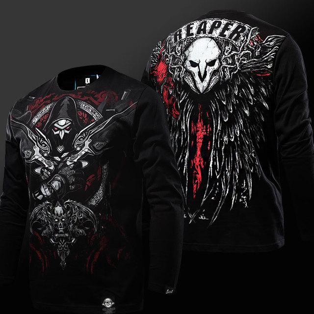 2017 Enfriar Reloj Sobre OW Versión Gothic Reaper Camisetas 3D Nuevo ventisca Juego Cosplay Camisetas de Manga Larga Camisetas Negras Para Hombres Niños