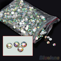 2014 New  sale 1000Pcs 4mm Flatback Crystal AB 14 Facets Resin Round Rhinestone Beads 0EPC 7GW3