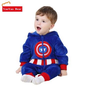 Детские ползунки «Капитан Америка» костюм с длинным рукавом 3 м-24 м Одежда для мальчиков и девочек Теплый бархатный комбинезон для мальчико...
