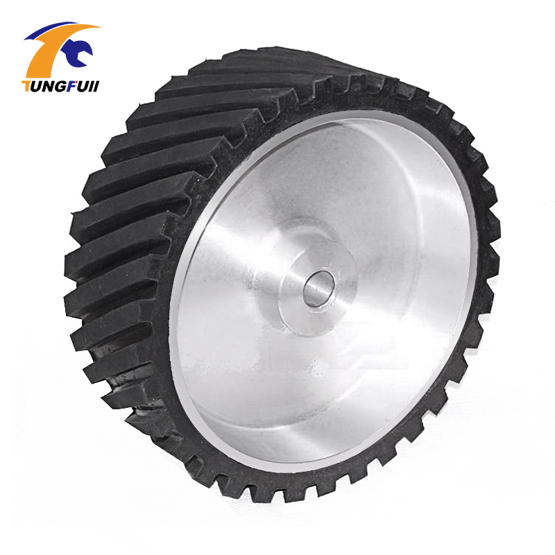 Tungfull drill attachment 250*50*25mm/35mm Serrated Belt Grinder Rubber Wheel Abrasive Sanding Belt Contact wheel High Quality lathe 25mm thickness 120mm x 25mm abrasive flap disc wheel