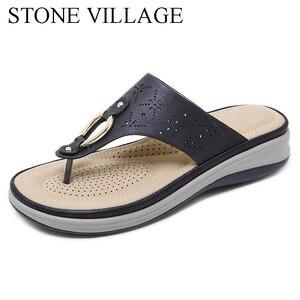 Image 2 - Summer Outdoor Beach Flip Flops Slippers Women Non slip Comfortable Wedges Heels Platform Shoes Female Slipper High Quality
